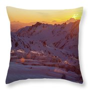 Alpine Sunset On High Alpine Glacier Throw Pillow