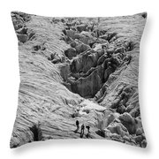 Alpinists On Glacier Throw Pillow