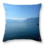 Alps And Leman Lake Throw Pillow