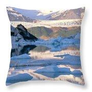 Alsek Glacier In St. Elias Mountains Throw Pillow