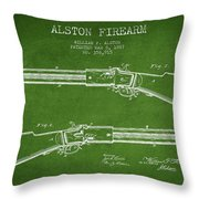 Alston Firearm Patent Drawing From 1887- Green Throw Pillow