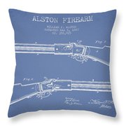 Alston Firearm Patent Drawing From 1887- Light Blue Throw Pillow