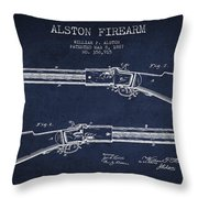 Alston Firearm Patent Drawing From 1887- Navy Blue Throw Pillow