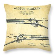 Alston Firearm Patent Drawing From 1887- Vintage Throw Pillow