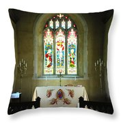 Altar And Stained Glass Window Nether Wallop Throw Pillow