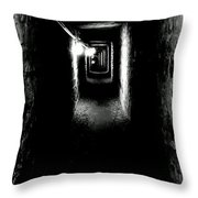 Altered Image Of The Catacomb Tunnels Paris France  Throw Pillow