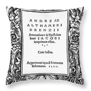 Althamer Title Page, 1527 Throw Pillow