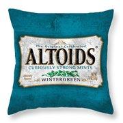 Altoids Wintergreen Scratches Throw Pillow