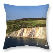 Alum Bay And The Coloured Sand Cliffs Throw Pillow