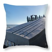 Aluminum Fishing Boat And Boots Drying On Fence Throw Pillow