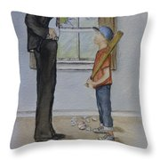 Am I In Trouble Dad... Broken Window Throw Pillow