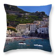 Amalfi Beach And Town Throw Pillow