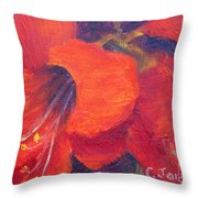 Amaryllis Flower Throw Pillow