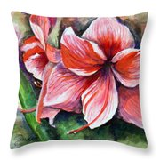 Amaryllis Throw Pillow by Lenore Gaudet