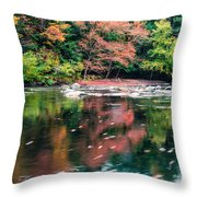 Amazing Fall Foliage Along A River In New England Throw Pillow
