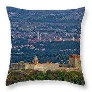 Amazing Medvedgrad Castle And Croatian Capital Zagreb Throw Pillow