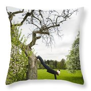 Amazing Stretching Exercise - Bmx Flatland Rider Monika Hinz Uses A Tree Throw Pillow