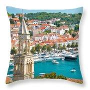 Amazing Town Of Hvar Harbor Throw Pillow