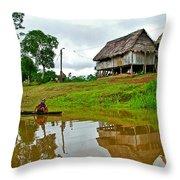 Amazon River Reflections-peru  Throw Pillow