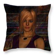 Amber Digital Portait Throw Pillow
