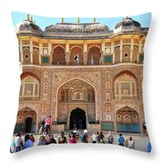 Amber Fort Entrance To Living Quarters - Jaipur India Throw Pillow