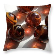 Amber Marbles Throw Pillow