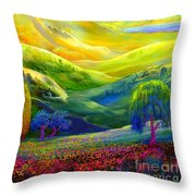 Wildflower Meadows, Amber Skies Throw Pillow