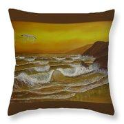 Amber Sunset Beach Seascape Throw Pillow