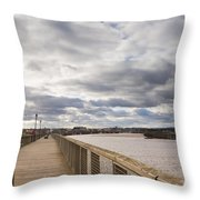 Amble Harbour And Village Throw Pillow