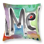 Amen- Colorful Word Art Painting Throw Pillow by Linda Woods