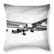 Amercian Airlines 757 Airplane In Black And White Throw Pillow