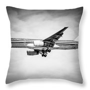 Amercian Airlines Airplane In Black And White Throw Pillow by Paul Velgos