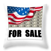 America For Sale Throw Pillow