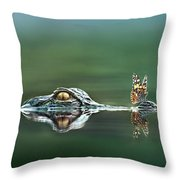 American Alligator And Butterfly Throw Pillow