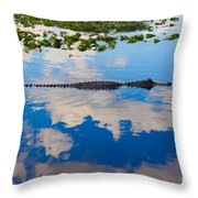 American Alligator Swimming Through The Clouds Throw Pillow