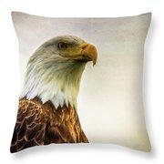 American Bald Eagle With Flag Throw Pillow by Natasha Bishop