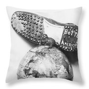 American Boot To Crush Kaiser Throw Pillow