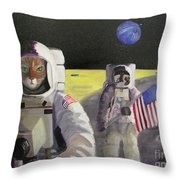 American Cat Astronauts Throw Pillow
