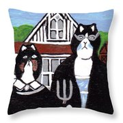 American Cat Gothic Throw Pillow