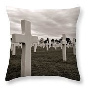 American Cemetery In Normandy  Throw Pillow