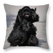 American Cocker Spaniel In Action Throw Pillow by Camilla Brattemark