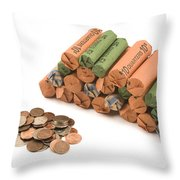 American Coins On White Background Throw Pillow