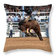 American Cowboy Riding Bucking Rodeo Bronc I Throw Pillow