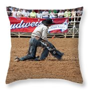 American Cowboy Thrown From A  Bucking Rodeo Bronc Throw Pillow