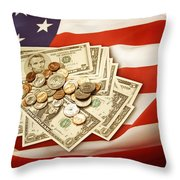 American Currency  Throw Pillow by Les Cunliffe