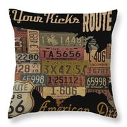 American Dream-route 66 Throw Pillow