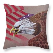 American Eagle Throw Pillow by Jean Ann Curry Hess