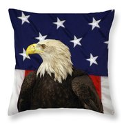 American Eagle And Flag Throw Pillow