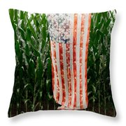 American Flag And A Field Of Corn Throw Pillow by Kim Fearheiley