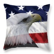 American Flag And Bald Eagle Throw Pillow by Jill Lang